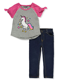 Baby Girls' Unicorn 2-Piece Jeans Set Outfit by Diva in Pink/multi