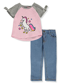 Baby Girls' Unicorn 2-Piece Jeans Set Outfit by Diva in Pink/multi, Infants