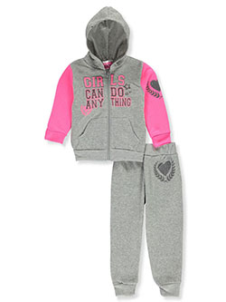 Do Anything 2-Piece Sweatsuit Outfit by Angel Face in gray multi and pink/multi - Active Sets