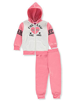 Dreams 2-Piece Sweatsuit Outfit by Angel Face in blush/multi and neon pink multi - Active Sets