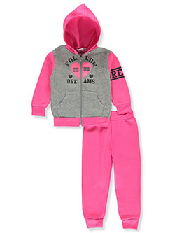 Dreams 2-Piece Sweatsuit Outfit by Angel Face in blush/multi and neon pink multi