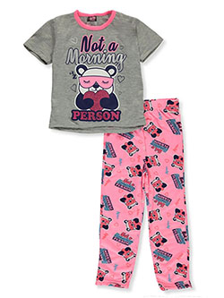 Girls' Panda 2-Piece Pajamas by Angel Face in gray/pink and hot pink/black