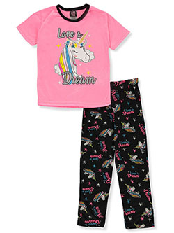 Girls' Unicorn Dream 2-Piece Pajamas by Angel Face in hot pink/black and pink/gray