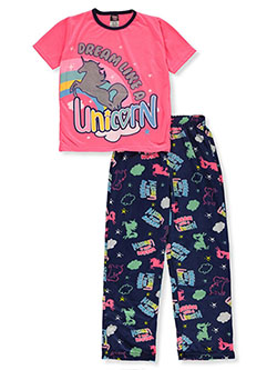 Girls' Dream Unicorn 2-Piece Pajamas by Angel Face in hot pink multi and navy/multi