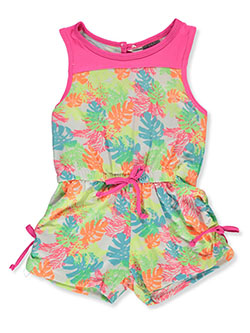 Tropical 1-Piece Romper Swimsuit by Angel Face in neon pink and neon yellow