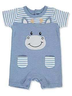 Baby Boys' Giraffe Short Coverall by Funny Bunny in blue and light blue