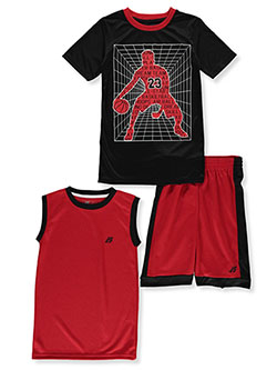 Boys' 3-Piece Shorts Set Outfit by Pro Athlete in red/multi and royal blue multi