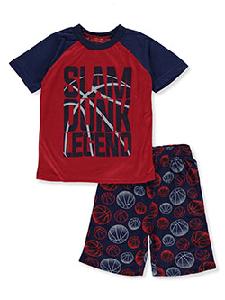 Boys' Slam Dunk Legend 2-Piece Pajamas by Tuff Guys in blue/multi, gray multi and red/multi