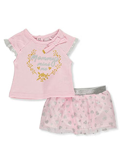 Baby Girls' 2-Piece Tutu Set Outfit by Funny Bunny in pink/multi and white/multi