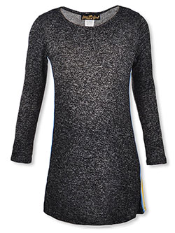 Girls' Knit Dress by Glitter Girl in heather charcoal and heather gray