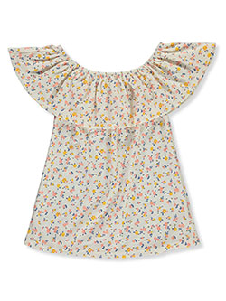 Girls' Floral Circle Neckline Top by Glitter Girl in Coral