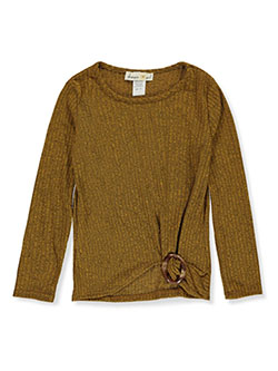 Girls' Loop Gathered Top by Dream Girl in mustard and rust