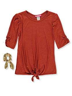 Girls' Ribbed Top with Hair Accessory by Shiny Happy in rust and yellow, Girls Fashion
