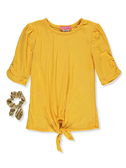 Girls' Ribbed Top with Hair Accessory by Shiny Happy in Yellow