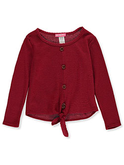 Girls' Faux Button Thermal Top by Shiny Happy in burgundy and mustard