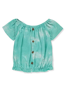 Girls' Tie-Dye Peasant Top by Dream Girl in aqua and pink