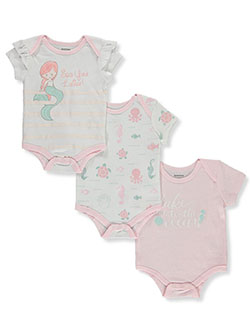 Baby Girls Sea 3-Pack Bodysuits by Tic Tac Toe in White