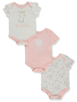 Baby Girls Princess 3-Pack Bodysuits by Tic Tac Toe in White