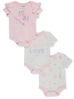 Baby Girls Sea 3-Pack Bodysuits by Tic Tac Toe in Pink