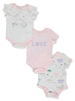 Baby Girls' Dino 3-Pack Bodysuits by Tictactoe in White