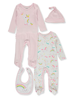 Baby Girls' Unicorn 4-Piece Layette Set by Tictactoe in Pink
