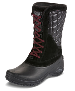 Women's Thermoball Utility Mid Boots by The North Face in black/deep garnet red, burnished houndstooth print/black plum and dove gray/calypso coral