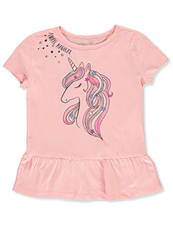 Girls' Unicorn Peplum Top by Kidtopia in Blush