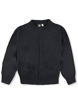 Big Girls' Control-Pil Zip-up Cardigan by T.Q. Knits in Navy
