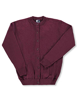 "Big Girls' ""Missy"" Control-Pil Cardigan by T.Q. Knits in Burgundy"