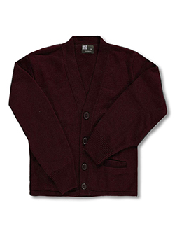 Unisex Youth Control-Pil 4-Button Cardigan by T.Q. Knits in brown, burgundy, gray and red