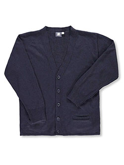 Adult Unisex Control-Pil 4-Button Cardigan by T.Q. Knits in navy and red