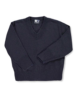 Boys' L/S Control-Pil V-Neck Sweater by T.Q. Knits in navy and red