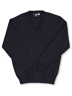 Men's Control-Pil V-Neck Sweater by T.Q. Knits in Navy