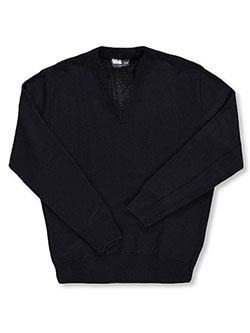 Men's L/S V-Neck Sweater by T.Q. Knits in Navy