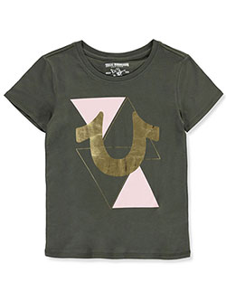Metallic Triangle Logo T-Shirt by True Religion in Olive