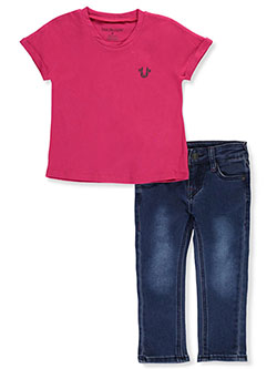 Baby Girls' 2-Piece Jeans Set Outfit by True Religion in Fuchsia