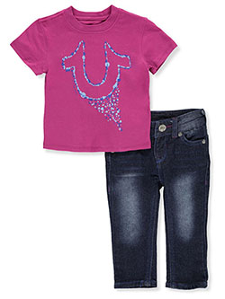 Paint Drip Logo 2-Piece Jeans Set Outfit by True Religion in Fuchsia