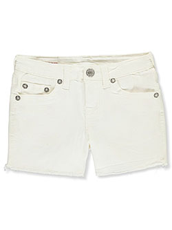 Frayed Cuff Denim Short Shorts by True Religion in White