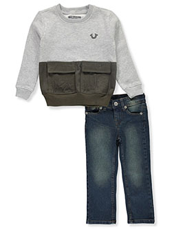 Cargo Sweatshirt 2-Piece Jeans Set Outfit by True Religion in Heather gray