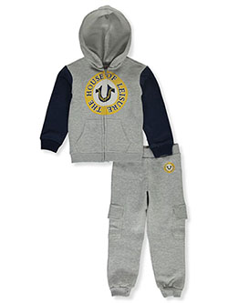 Leisure 2-Piece Sweatsuit Outfit by True Religion in heather gray and ruby