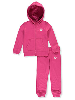 Girls' 2-Piece Sweatsuit Outfit by True Religion in Hot pink