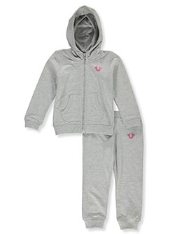 Girls' 2-Piece Sweatsuit Outfit by True Religion in Heather gray