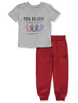 Boys' 2-Piece Joggers Set Outfit by True Religion in heather gray and white, Sizes 2T-4T