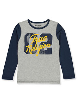 s Boys' Graphic L/S T-Shirt by True Religion in heather gray and ruby