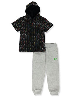 2-Piece Joggers Set Outfit by True Religion in Black, Boys Fashion