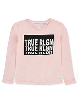 Girls' Graphic L/S T-Shirt by True Religion in pink and white, Girls Fashion