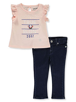 Baby Girls' 2-Piece Jeans Set Outfit by True Religion in Blush