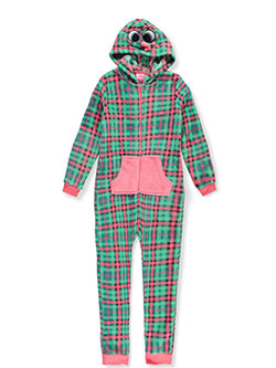 Character Hooded 1-Piece Pajamas by Chili Peppers in Green/pink