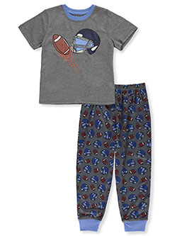 Sports Football Racer 2-Piece Pajamas by Championship in charcoal heather and mustard
