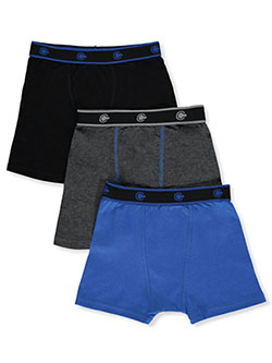 Boys' 3-Pack Boxer Briefs by Championship in black multi, gray multi and red/multi